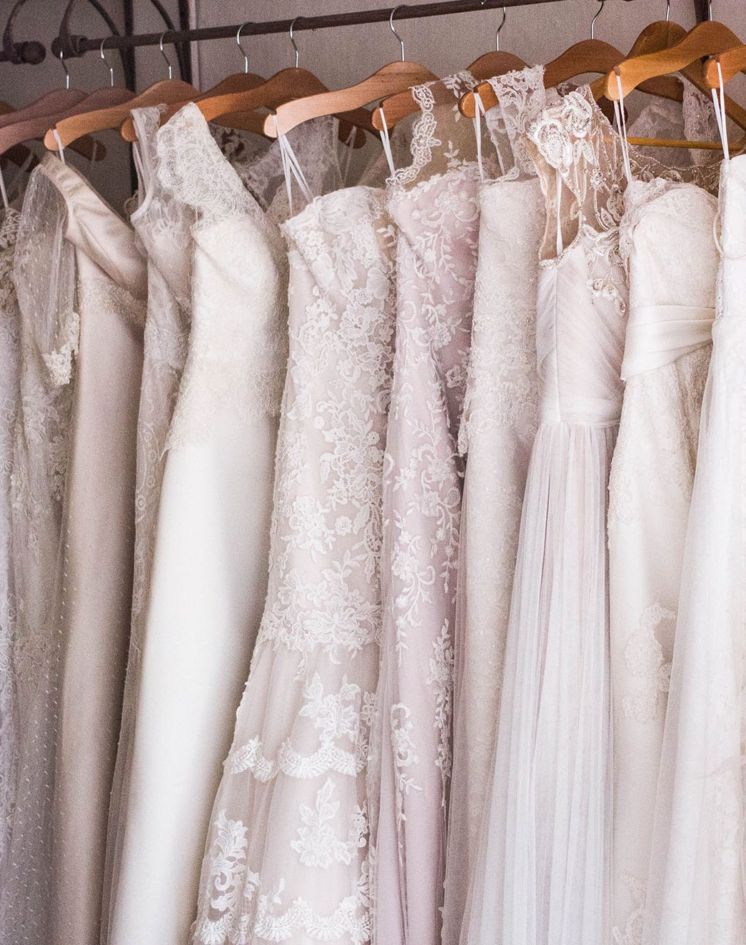 Wedding dresses on rack
